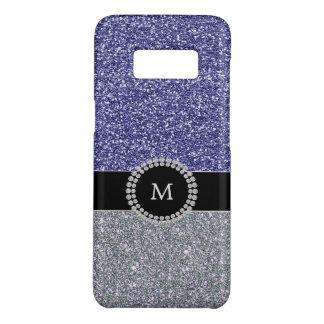 Cool Silver blue glitter diamond monogram Case-Mate Samsung Galaxy S8 Case