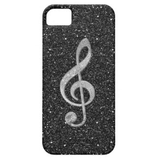Cool silver glitter shining effects treble clef iPhone 5 cases