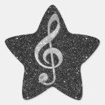 Cool silver glitter shining effects treble clef sticker