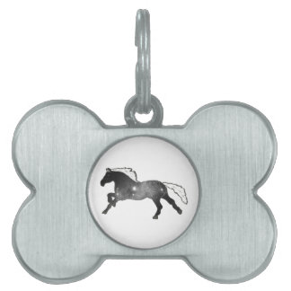 Cool Simple Horse Black and White Nebula Galaxy Pet ID Tags