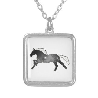 Cool Simple Horse Black and White Nebula Galaxy Silver Plated Necklace