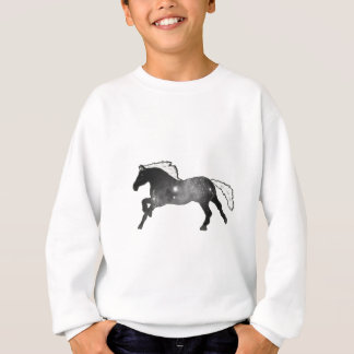 Cool Simple Horse Black and White Nebula Galaxy Sweatshirt