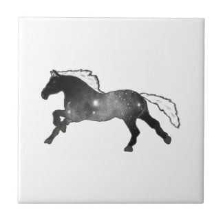 Cool Simple Horse Black and White Nebula Galaxy Tile