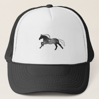 Cool Simple Horse Black and White Nebula Galaxy Trucker Hat