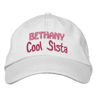 COOL SISTER Custom Name WHITE A07 Embroidered Hat