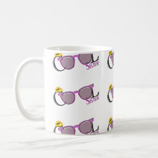 Cool Sister-sun and sunglasses on white Classic White Coffee Mug