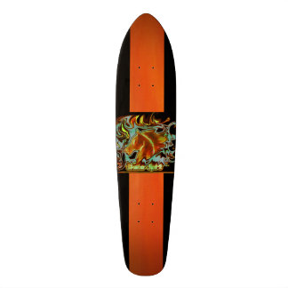 Cool skateboard deck orange-black with logo