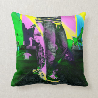 Cool Skateboarder Grunge Style Colorful Art Pillow