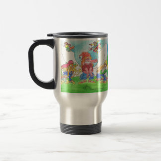Cool skateboarding animal cartoon characters, mug. travel mug
