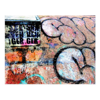 Cool Skateboarding Graffiti On Wall Postcard