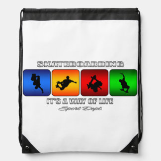 Cool Skateboarding It Is A Way Of Life Drawstring Bag