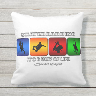 Cool Skateboarding It Is A Way Of Life Outdoor Pillow