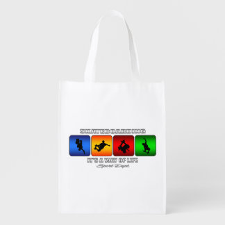 Cool Skateboarding It Is A Way Of Life Reusable Grocery Bag