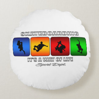 Cool Skateboarding It Is A Way Of Life Round Pillow
