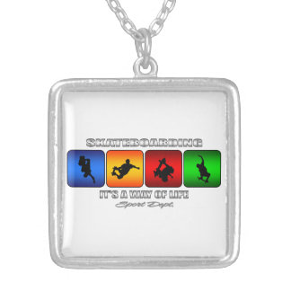 Cool Skateboarding It Is A Way Of Life Silver Plated Necklace