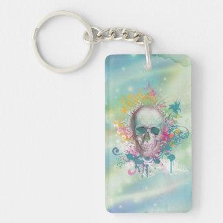 cool skull splatters swirls vintage floral frame keychain