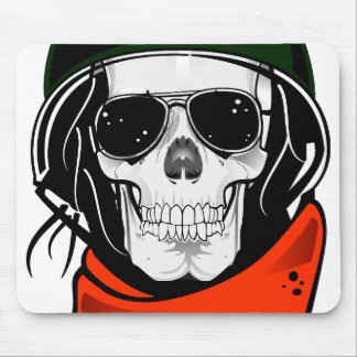 cool skull with sunglasses and helmet mouse pad