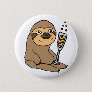 Cool Sloth Drinking Champagne Cartoon 2 Inch Round Button