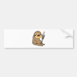Cool Sloth Drinking Champagne Cartoon Bumper Sticker