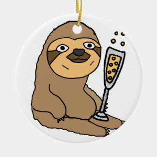 Cool Sloth Drinking Champagne Cartoon Ceramic Ornament