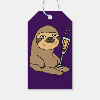 Cool Sloth Drinking Champagne Cartoon Gift Tags