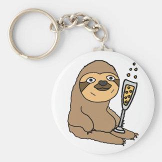 Cool Sloth Drinking Champagne Cartoon Keychain