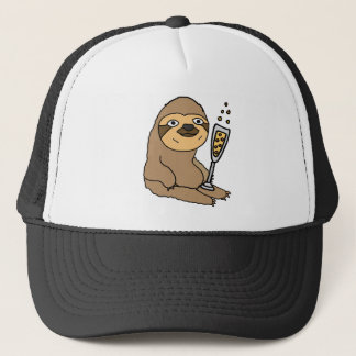 Cool Sloth Drinking Champagne Cartoon Trucker Hat
