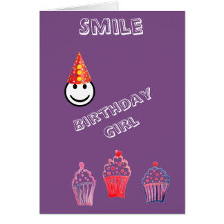 Cool Smile Clown Graphic Birthday Girl Card
