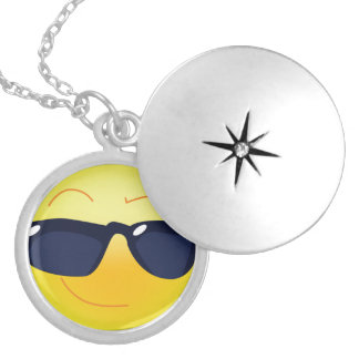 COOL SMILEY  FACE LOCKET NECKLACE