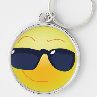 COOL SMILEY  FACE Silver-Colored ROUND KEYCHAIN