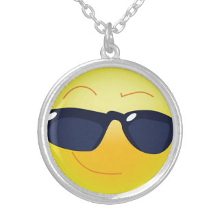 COOL SMILEY  FACE SILVER PLATED NECKLACE