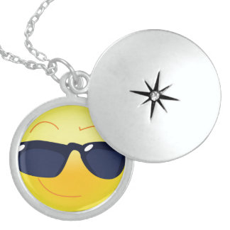 COOL SMILEY  FACE STERLING SILVER NECKLACE