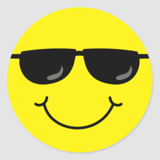 Cool Smiley Face with Sunglasses Classic Round Sticker