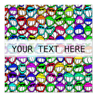 COOL SMILING FACES GROUP + your text Personalized Invites