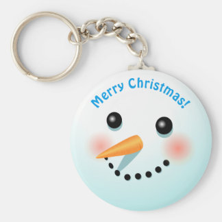 Cool Smiling Snowman Cartoon Basic Round Button Keychain