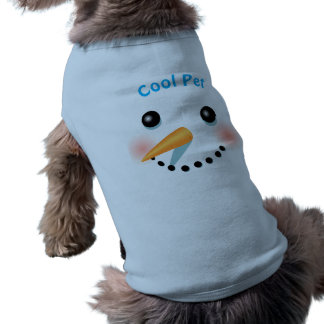 Cool Smiling Snowman With Carrot Nose Pet T Shirt