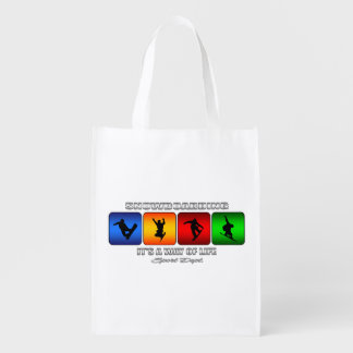 Cool Snowboarding It Is A Way Of Life Reusable Grocery Bag
