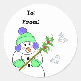 Cool Snowman Gift Tag Round Sticker