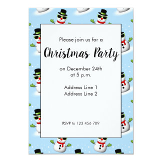 Cool Snowman with Shades Adorable Smirk Invite