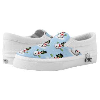 Cool Snowman with Shades Adorable Smirk pattern Slip-On Sneakers