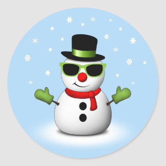 Cool Snowman with Shades and Adorable Smirk Classic Round Sticker