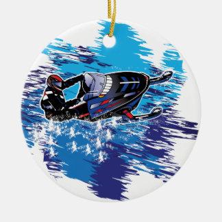 Cool Snowmobiler Ceramic Ornament
