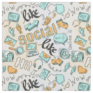 Cool Social Media Pattern fabric