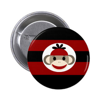Cool Sock Monkey Beanie Hat Red Black Stripes 2 Inch Round Button