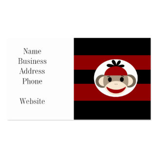 Cool Sock Monkey Beanie Hat Red Black Stripes Business Card