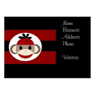 Cool Sock Monkey Beanie Hat Red Black Stripes Large Business Cards (Pack Of 100)