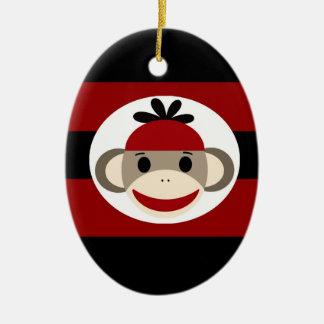 Cool Sock Monkey Beanie Hat Red Black Stripes Ceramic Oval Ornament