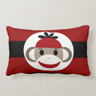 Cool Sock Monkey Beanie Hat Red Black Stripes Throw Pillows