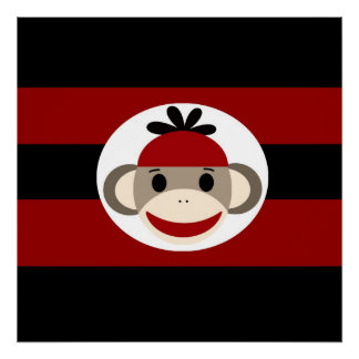 Cool Sock Monkey Beanie Hat Red Black Stripes Poster