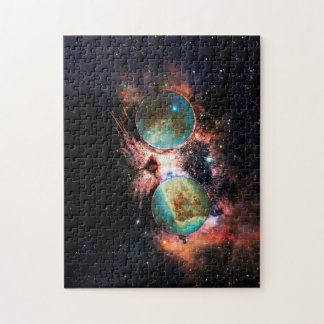 Cool Space Cat with Telescope Glasses in space Jigsaw Puzzle